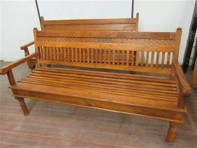 Two Antique Indonesian Teak Wood Benches