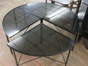Mid Century Modern Four Part Circular Coffee Table