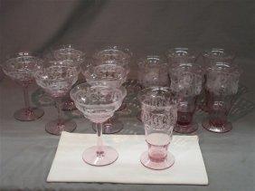 1930's Elegant Glass Fuschia Stemware
