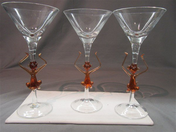 Murano Monkey Martini Glasses