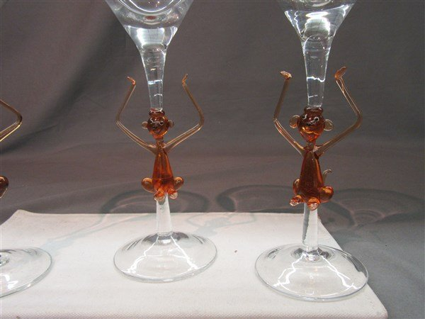 Murano Monkey Martini Glasses - 2