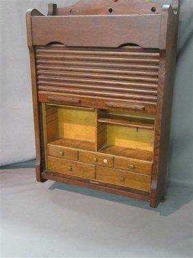 Oak Roll Top Wall Cabinet