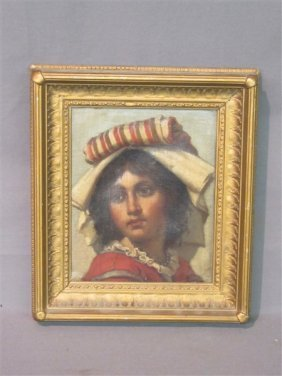 19th Century Oil on Canvas Young Peasant Girl