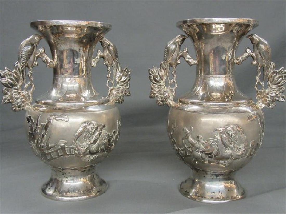 Chinese Export Silver Vases