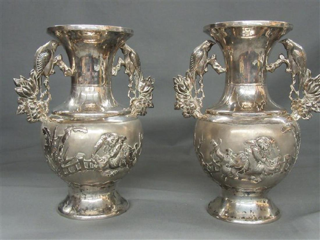Chinese Export Silver Vases - 2
