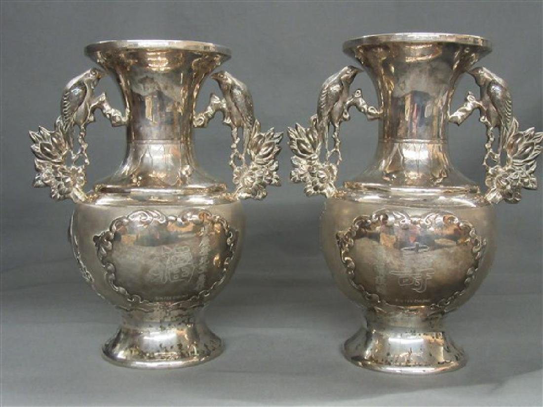 Chinese Export Silver Vases - 3