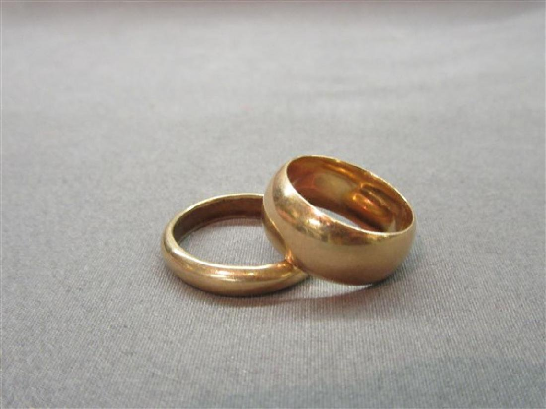 Two (2) Wide Band 14K Gold Wedding Bands