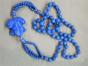 Blue Lapis Carved Frog Necklace