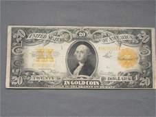 $20 Gold Back U.S. Bill 1922