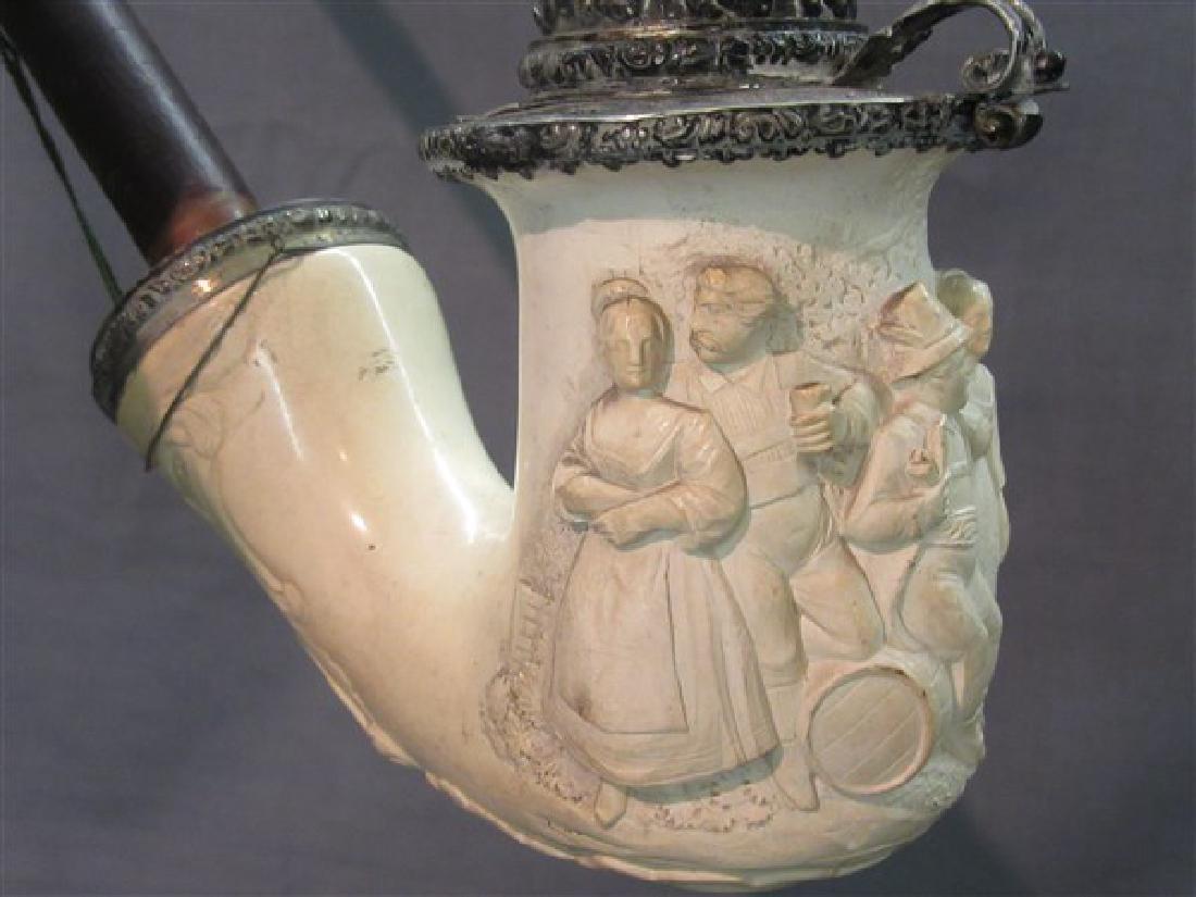 Antique Carved Meerschaum Lap Pipe - 2