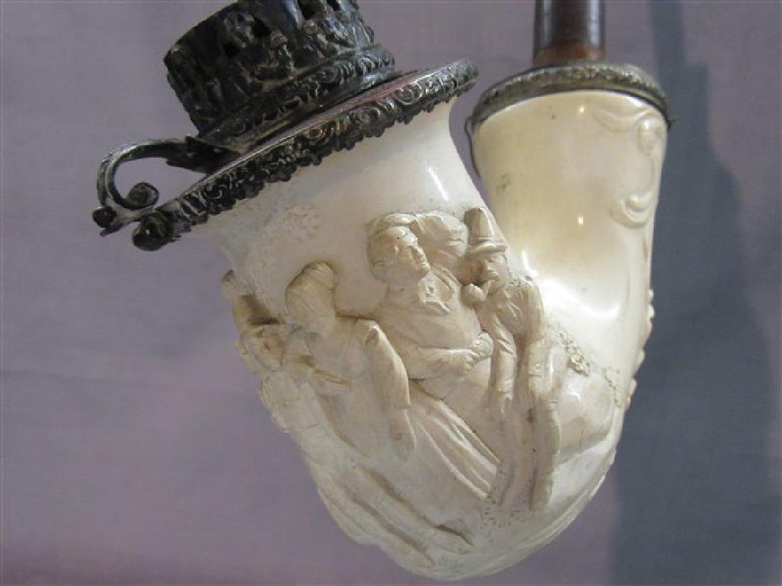 Antique Carved Meerschaum Lap Pipe - 3