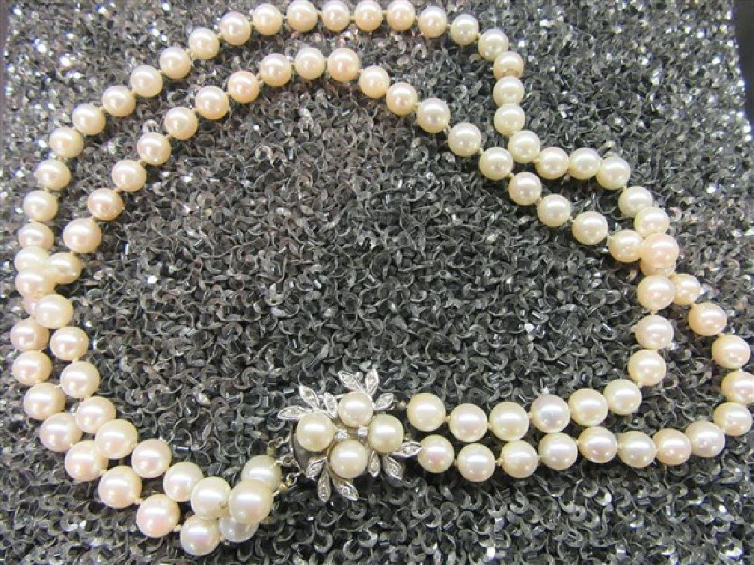 12145a0840bc Double Strand Pearl Necklace,14k Gold Diamond Clasp - Jul 13, 2017 |  Flannery's Estate Services in NY