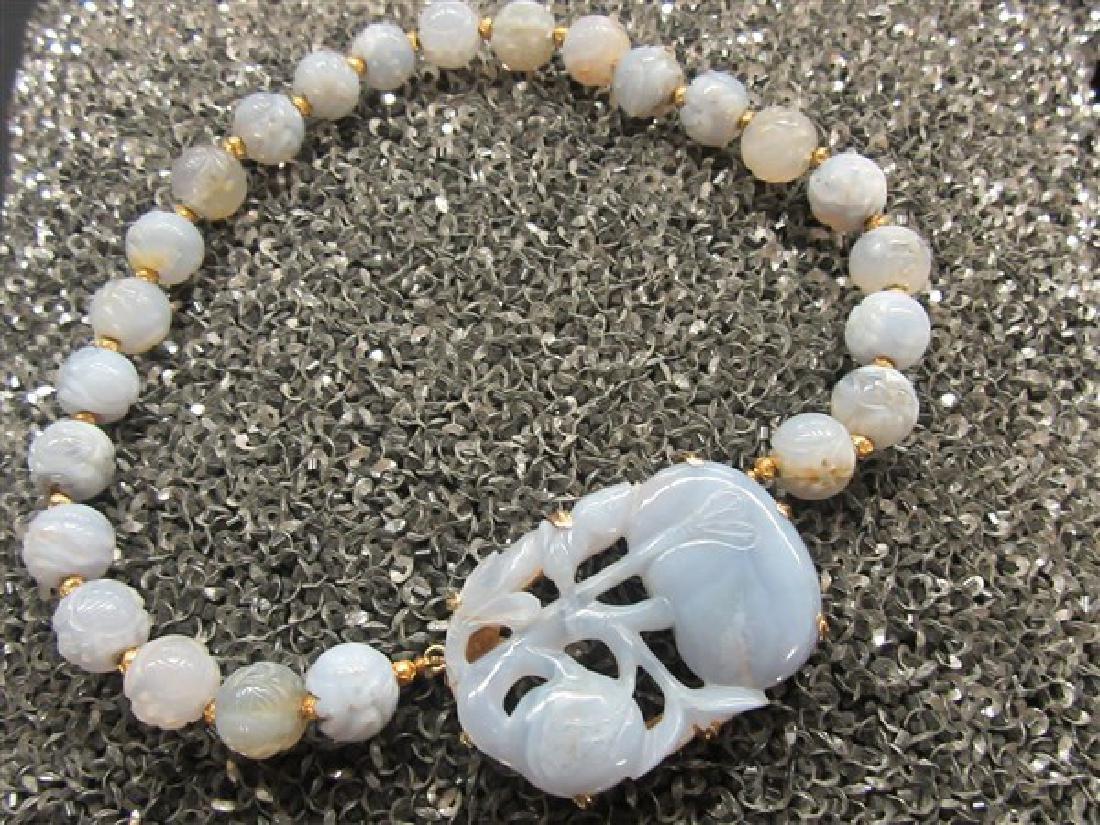 Chinese Lavender Jade Carved Necklace 18k Gold