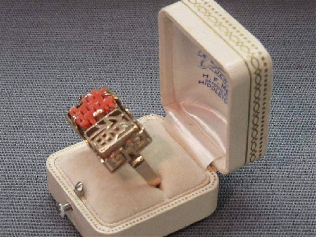 14K Gold Chinese Coral Ring