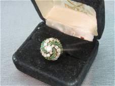 18K Diamond And Emerald Ring