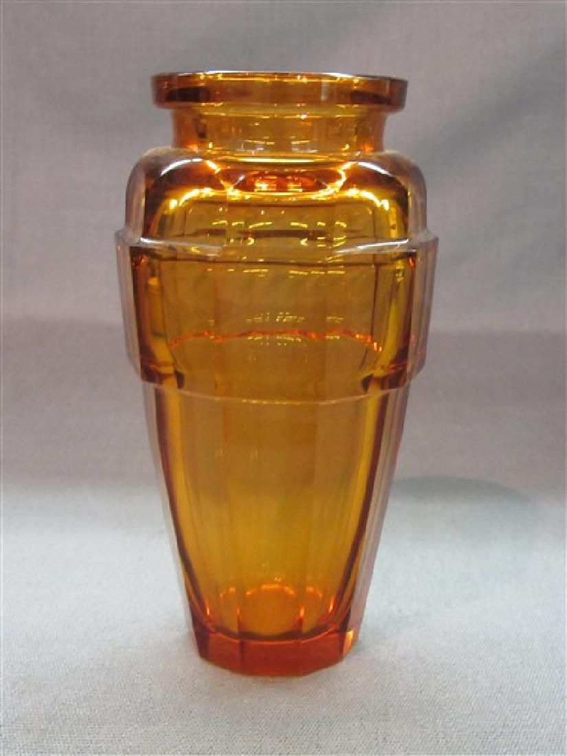 Early Faceted Glass Amber Vase, Moser