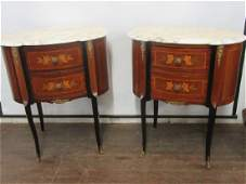 A Pair of Louis XVI Style Marble Top Stands