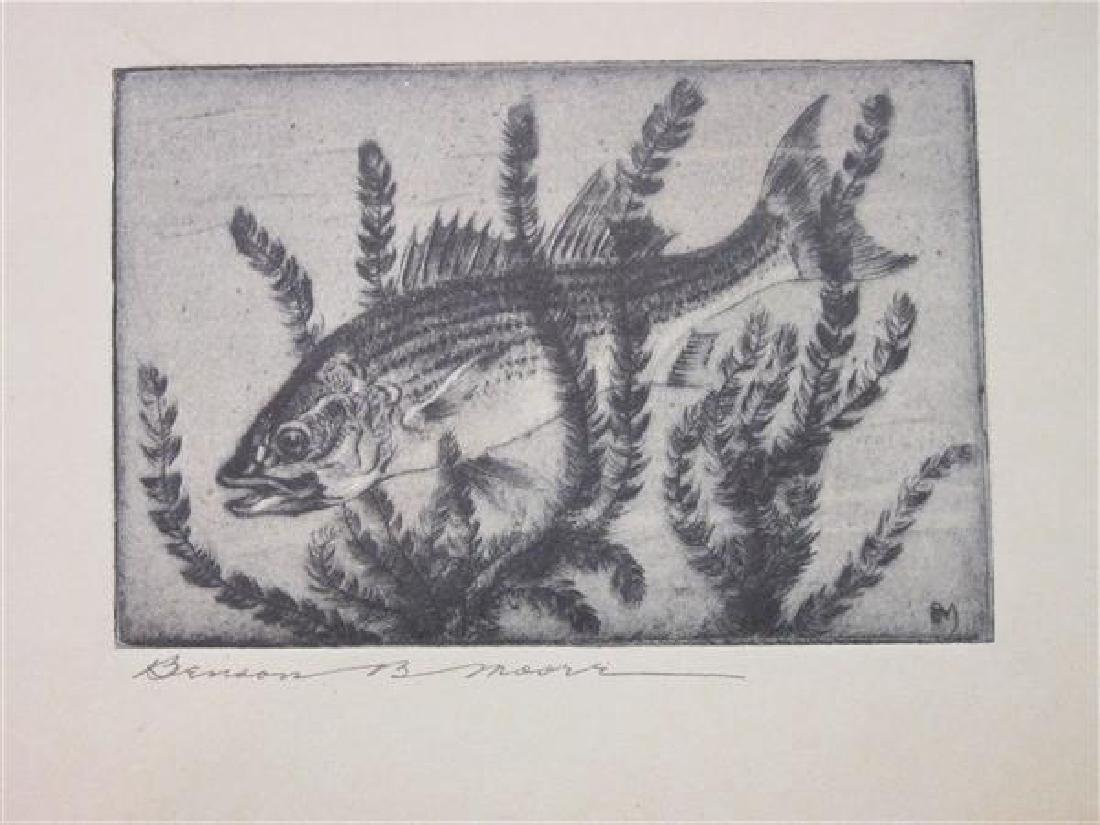 """Benson Moore """"Striped Bass"""" Etching Signed"""