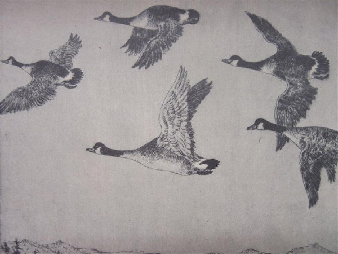"Benson Moore ""Geese"" Etching Signed"