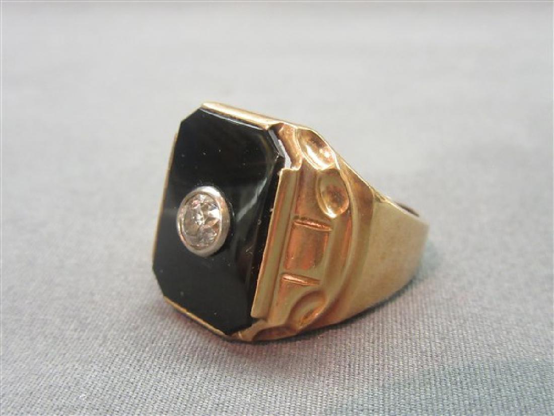 Men's 14K Onyx and Diamond Ring