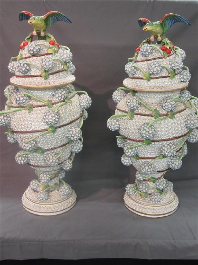Monumental German Porcelain Covered Urns