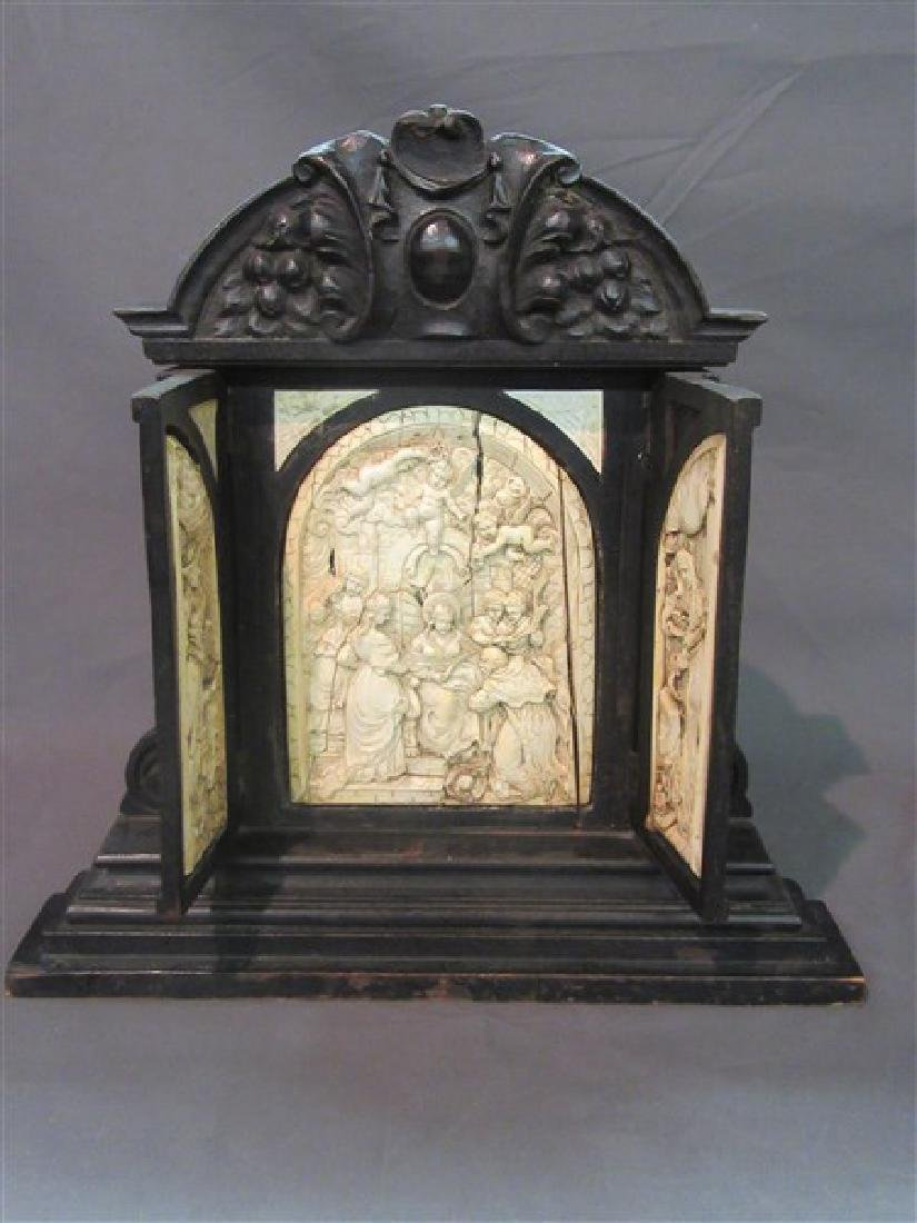 18th/19th C. Continental Carved Triptych