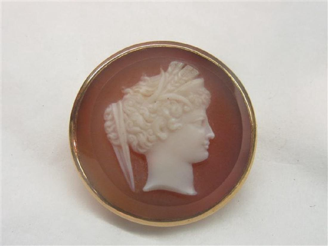 Victorian 14K Agate Cameo Pin