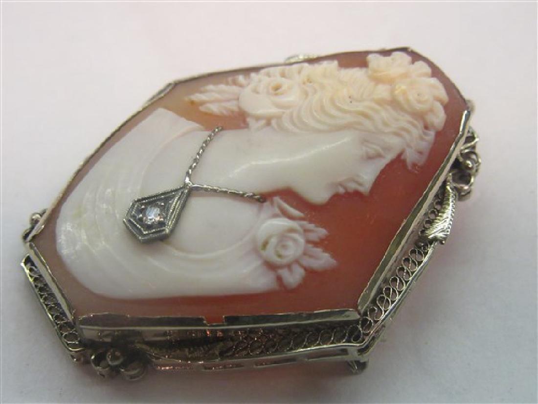 14k Sardonyx Shell Cameo With Diamond - 2