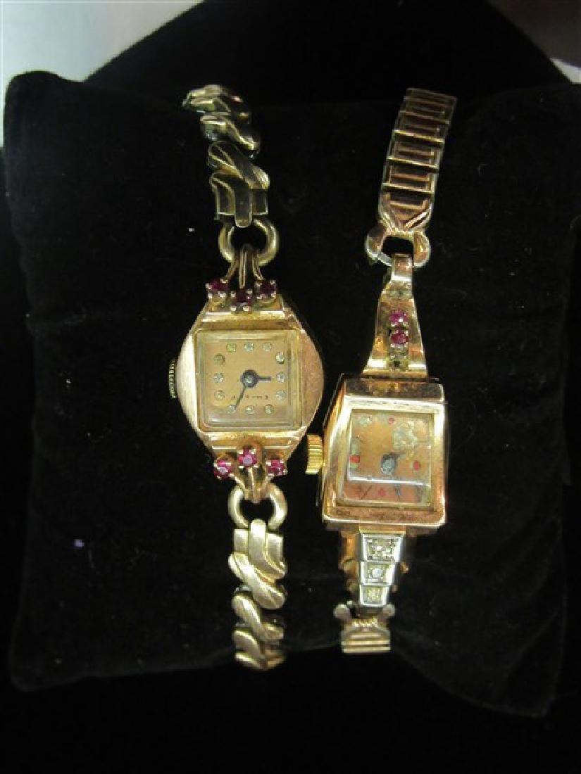 Two (2) 14K Rose Gold Vintage Ladies Wristwatches