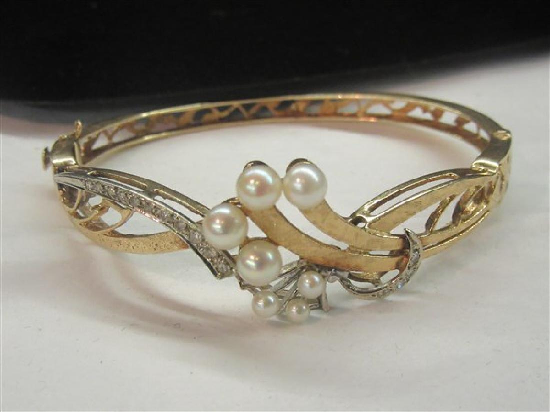 14K Gold Diamond and Pearl Hinged Bracelet