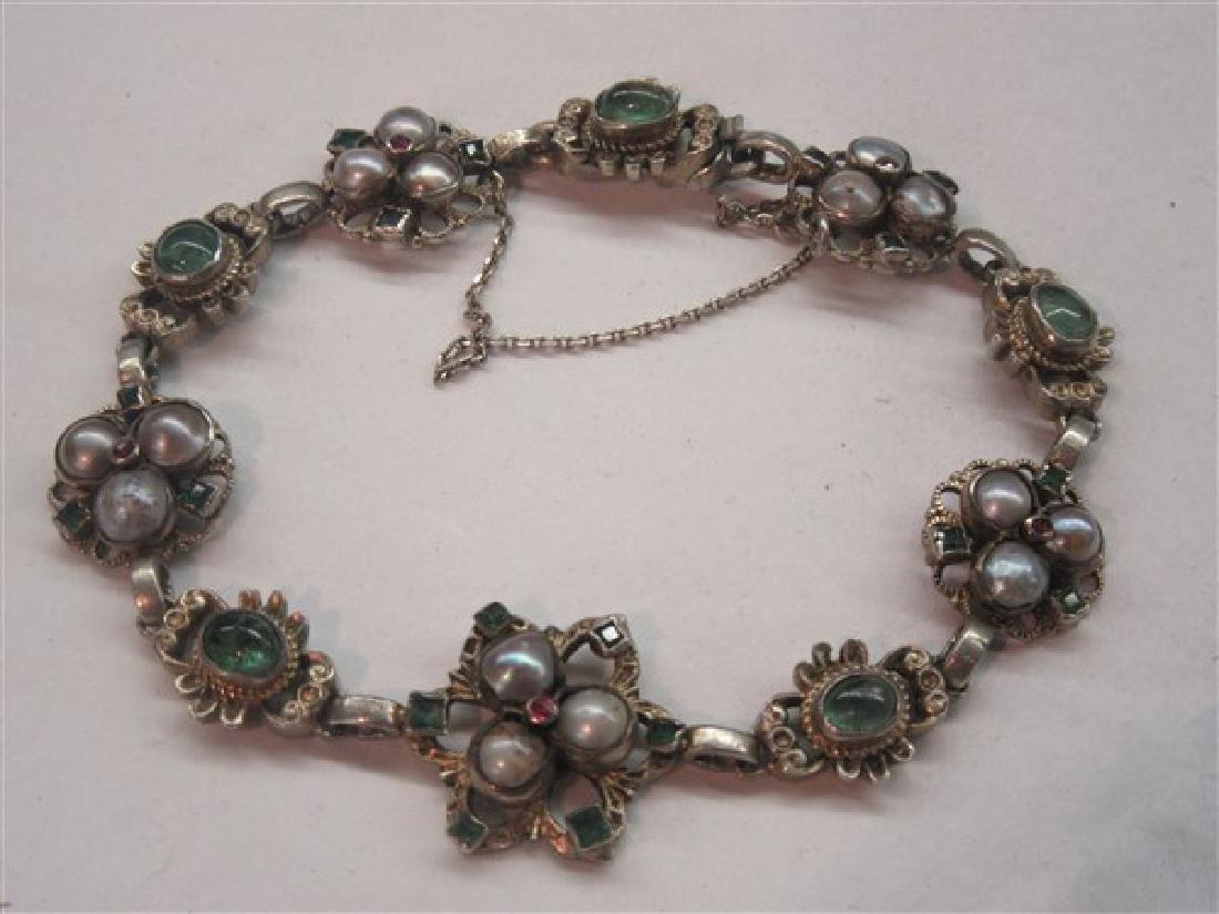 Silver Gemstone Encrusted Bracelet