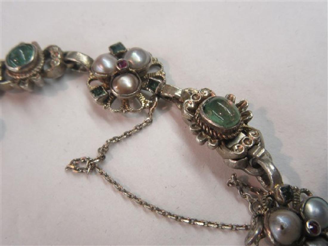 Silver Gemstone Encrusted Bracelet - 3