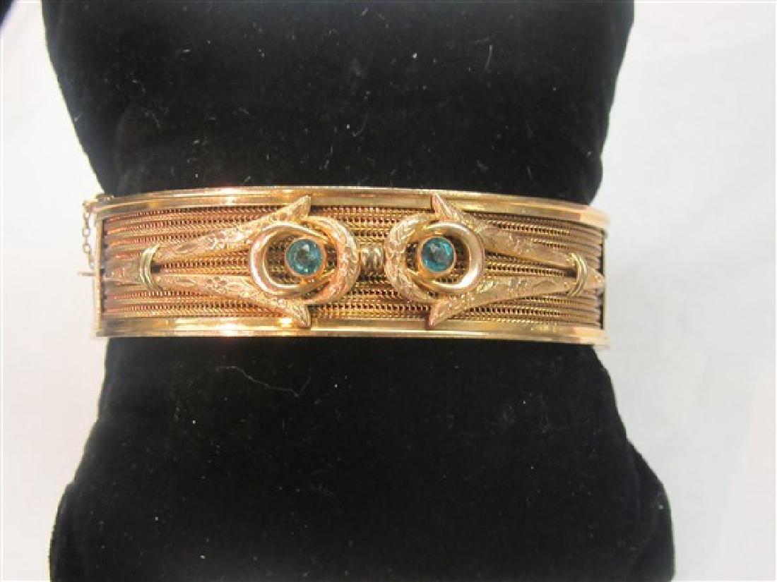 Vintage Gold Filled Hinged Bracelet With Blue Topaz