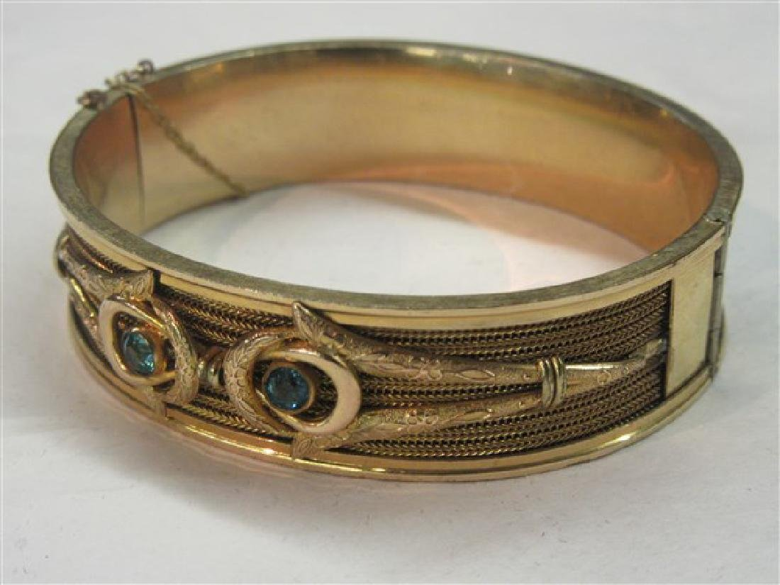 Vintage Gold Filled Hinged Bracelet With Blue Topaz - 2