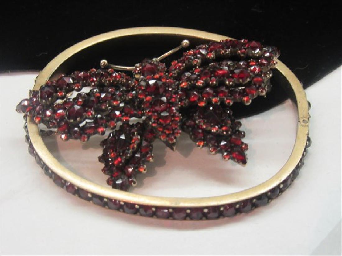 Bohemian Garnet Butterfly Pin and  Bracelet