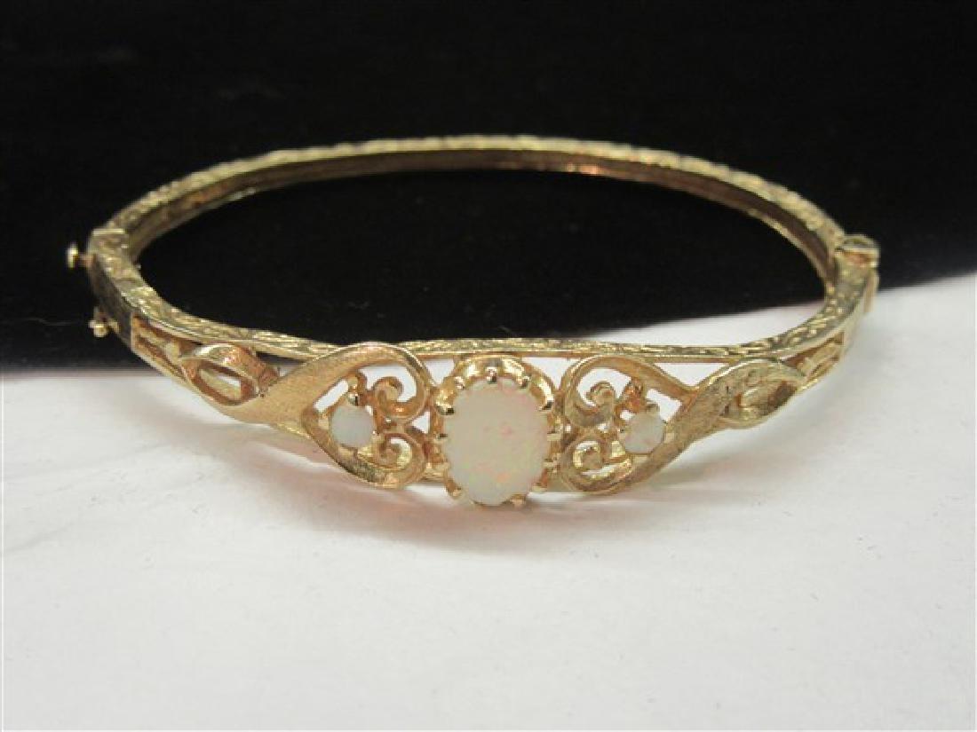 14k Yellow Gold Starburst Opal Hinged Bracelet