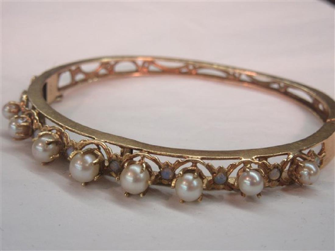 14k Yellow Pearl And Opal Bracelet
