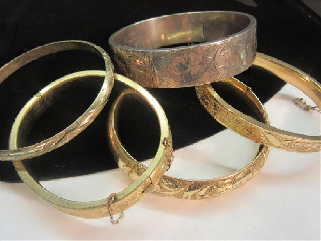 Five (5) Gold Filled And Silver Hinged Bracelets