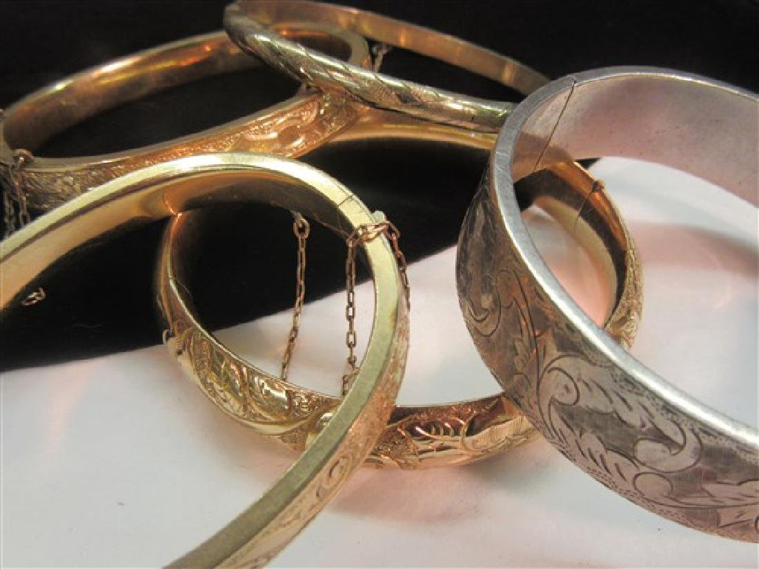 Five (5) Gold Filled And Silver Hinged Bracelets - 2