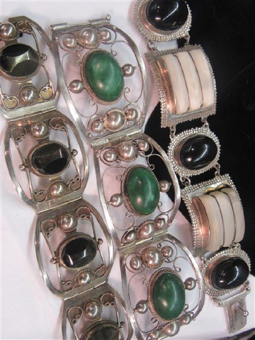 Three (3) Mexican Silver Bracelets