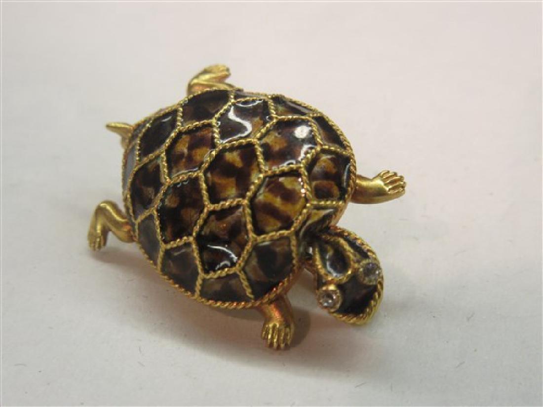 14k Plique A Jour Tortoise Shell Turtle Pin