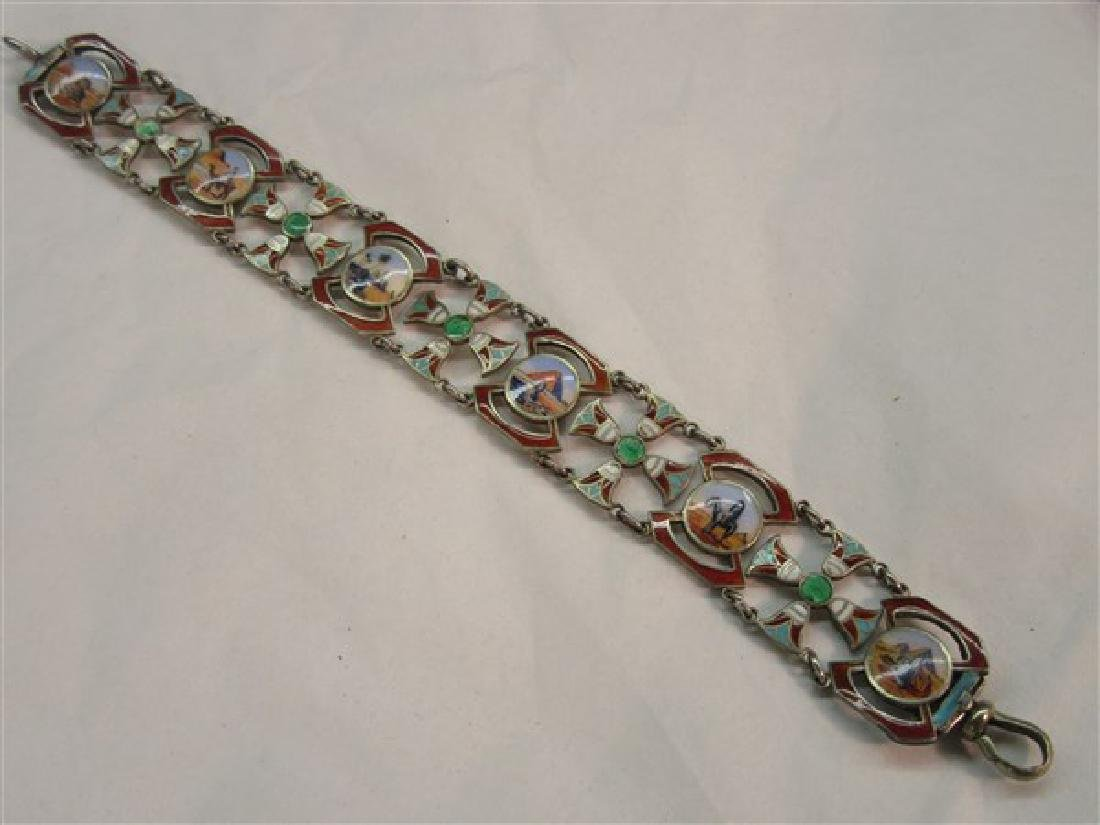 800 Silver Egyptian Revival Enameled Bracelet