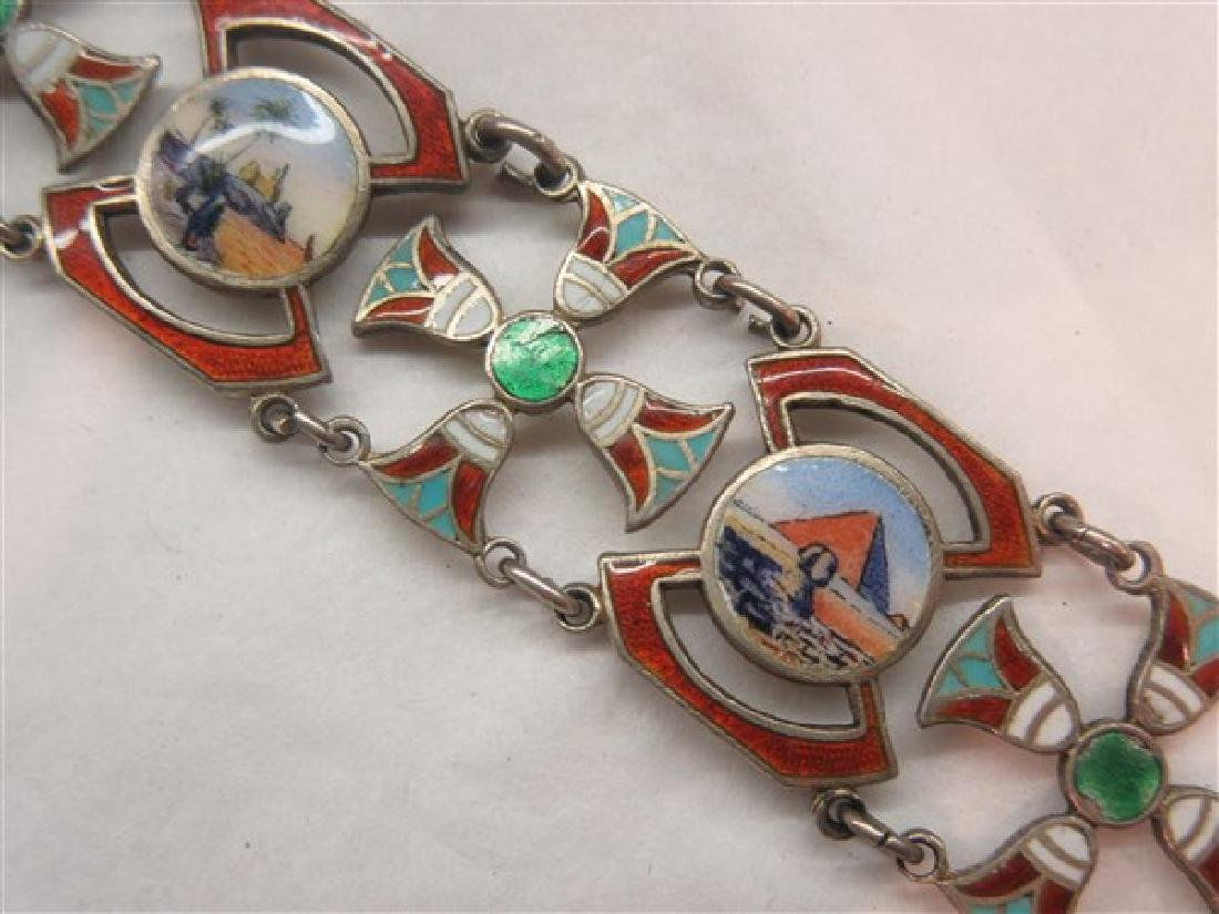 800 Silver Egyptian Revival Enameled Bracelet - 2