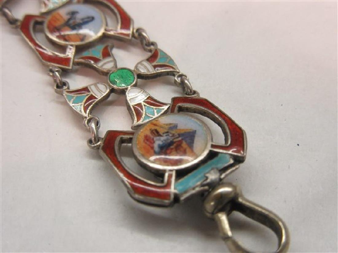 800 Silver Egyptian Revival Enameled Bracelet - 3