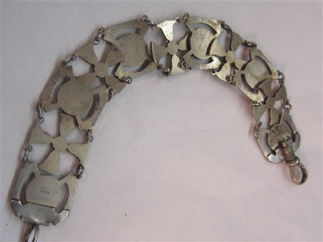 800 Silver Egyptian Revival Enameled Bracelet - 4