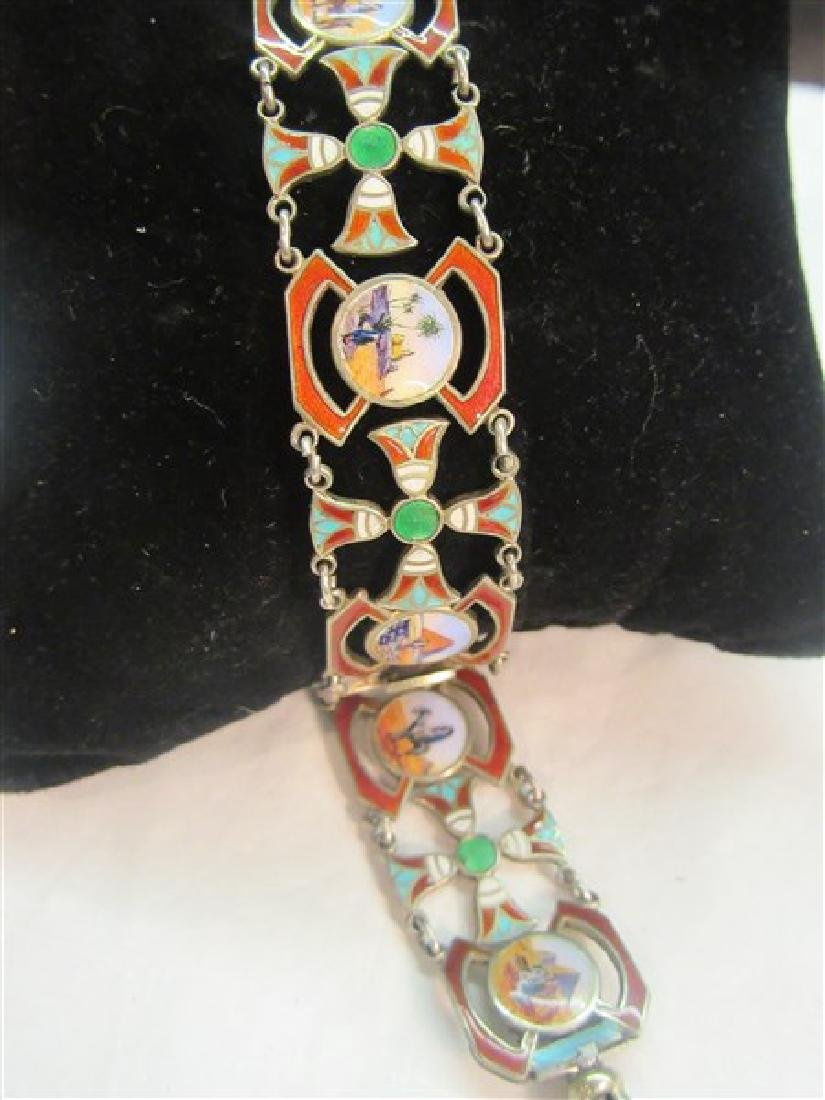 800 Silver Egyptian Revival Enameled Bracelet - 6
