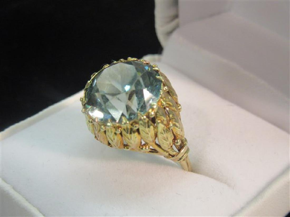 14k Yellow Gold Blue Topaz Ring - 2