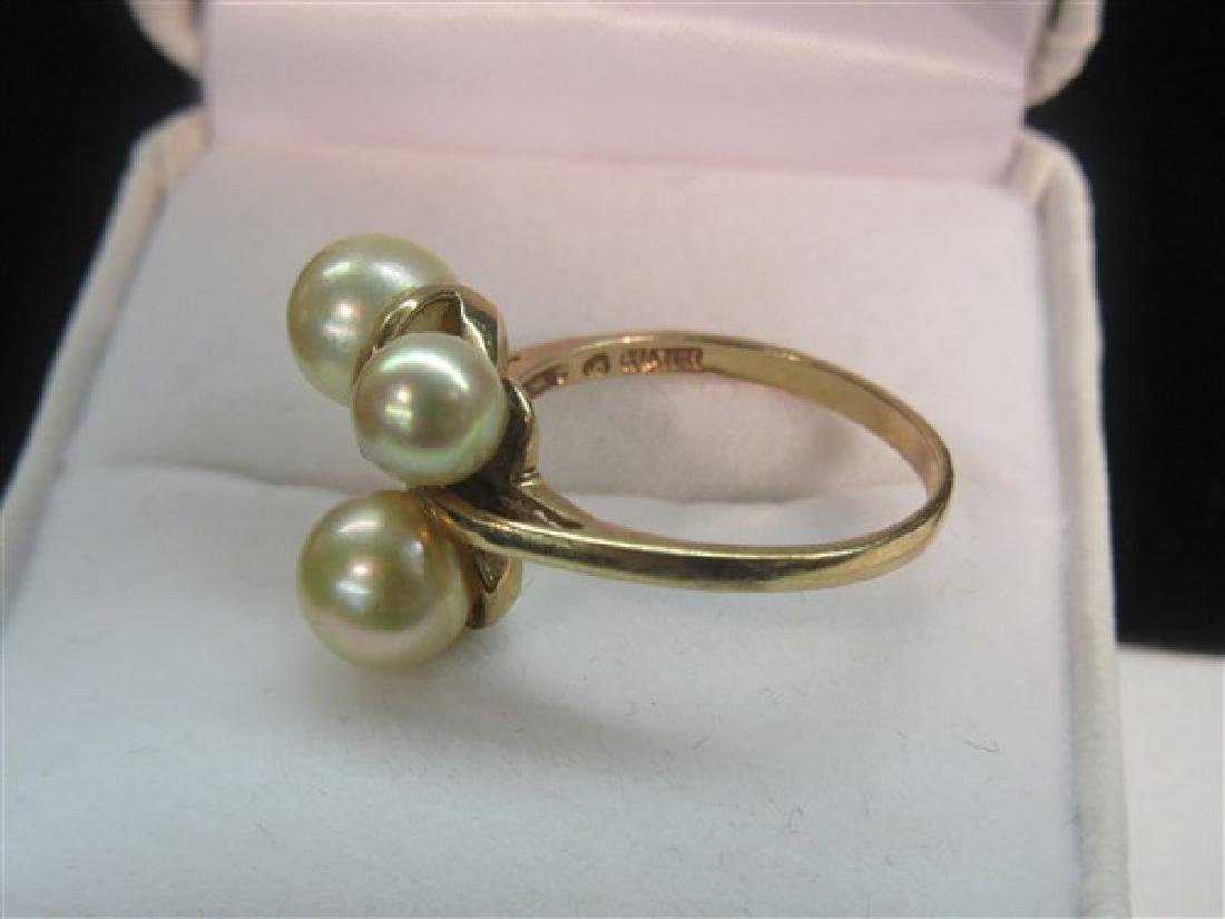 10k Yellow Gold Pearl Ring - 2