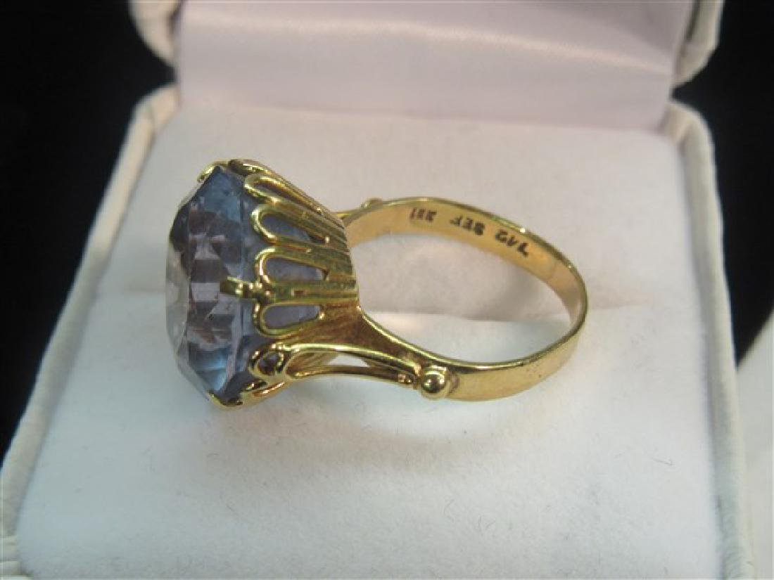 18k Yellow Gold Blue Topaz Ring - 2