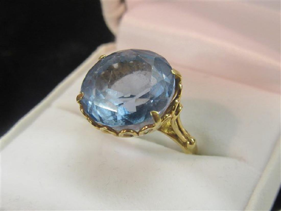 18k Yellow Gold Blue Topaz Ring - 3